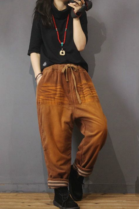 Colors Gradient Corduroy Pants Trendy Baggy Harem Pants in Coffee Yellow One Size Punk Fashion, Grunge Fashion, Fashion Outfits, Corduroy Pants, Harem Pants, Women's Pants, Baggy Pants Outfit, Estilo Hippy, Kinds Of Clothes