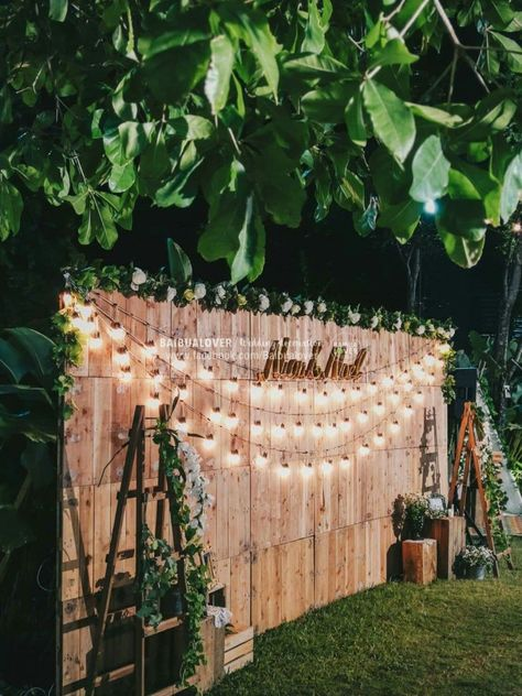 Cheap backyard wedding decor string light hanging bulbs backdrops outdoor bac bac b outdoor wedding ceremony decor ribbon curtains arch wood roses flowers greenery riverside {ashley hall photography} mccormick weddings com Rustic Wedding Backdrops, Outdoor Wedding Decorations, Backdrop Wedding, Wedding Rustic, Rustic Weddings, Trendy Wedding, Ceremony Backdrop, Wedding Centerpieces, Birthday Decorations