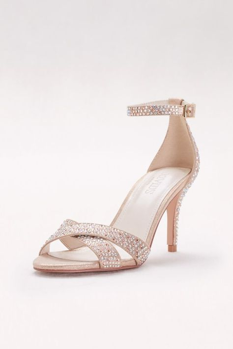 Crystal-Studded Crisscross Mid-Heel Sandals - Rose Gold