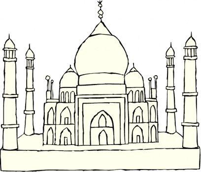 Taj Mahal Drawing For Kids Taj Mahal Coloring Page Pen And Ink