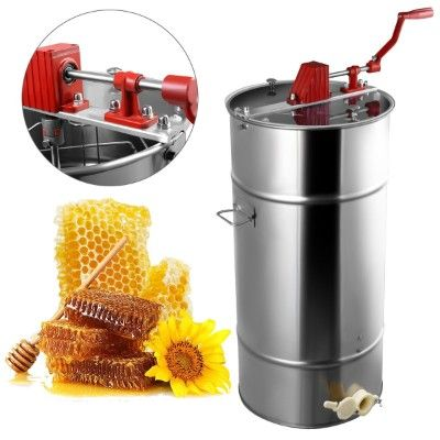 Goplus 2 Frame Stainless Steel Honey Extractor Manual Beekeeping Equipment