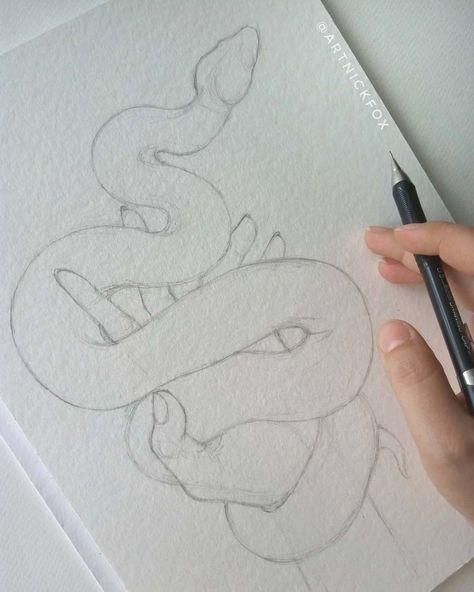 Art Sketchbook Drawing Artists – Art World 20 Snake Drawing, Art Drawings Simple, Sketches, Cool Art Drawings, Sketchbook Art Inspiration, Watercolor Artist, Drawing Sketches, Art Sketches, Watercolor Fox