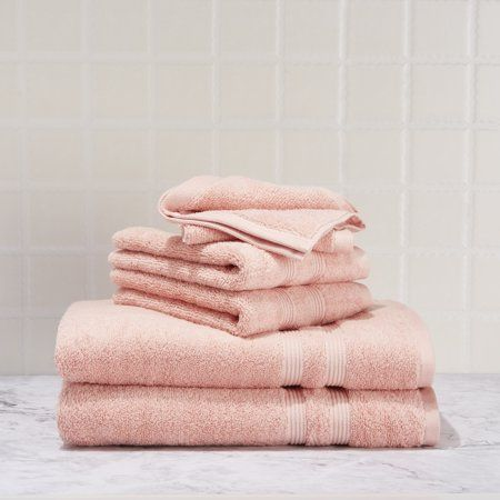 Mainstays Performance Solid 6 Piece Bath Towel Set Blush Size