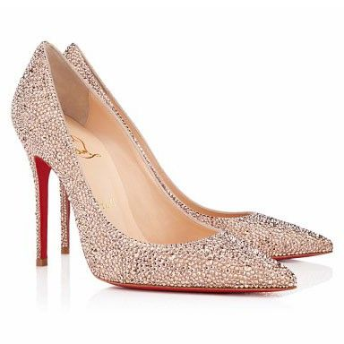 0ba3f1d5706e cheap Christian Louboutin Decollete 554 Strass 100mm Pointed Toe Pumps Nude