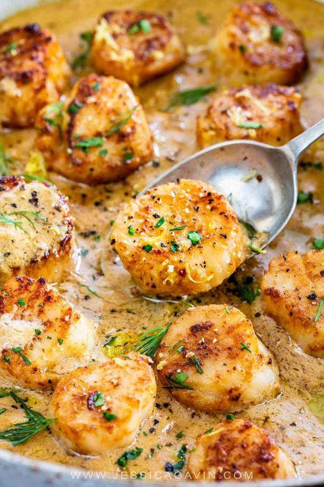 Pan-Seared Scallops with Lemon Garlic Sauce - Jessica Gavin