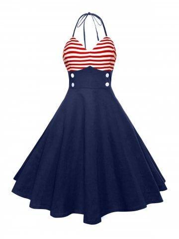ed2db241f Halter American Flag Vintage Dress | Quilt | Vintage dresses ...