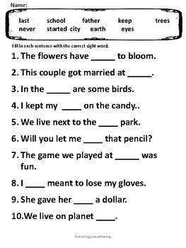 Fill In Sentences Fry S 300 Basic Sight Words Sight Word Worksheets Sight Words Homework