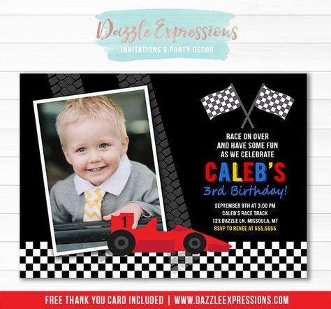 Printable Race Car Birthday Invitation Racing Race Track