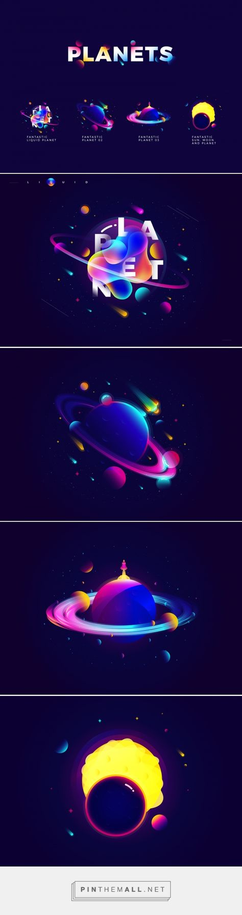 PLANETS ILLUSTRATION on Behance - https://www.behance.net/gallery/55802705/PLANETS-ILLUSTRATION -... - a grouped images picture