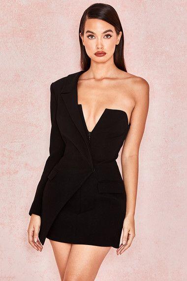 b162897fd Clothing : Jackets : 'Febe' Black Crepe One Sleeved Tuxedo Dress ...
