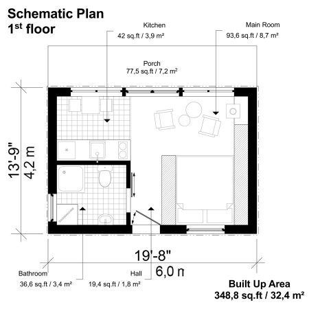 One Room Cottage Plans Cottage Plan One Room Cabins Tiny House Floor Plans