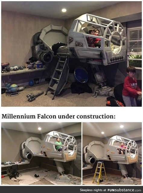 This father built his son a Star Wars Millennium Falcon bed. day star wars This father built his son a Star Wars Millennium Falcon bed Star Wars Decor, Decoration Star Wars, Millennium Falcon, Star Wars Bett, Kids Bedroom, Bedroom Decor, Bedroom Bed, Star Wars Bedroom, Star Wars Kids