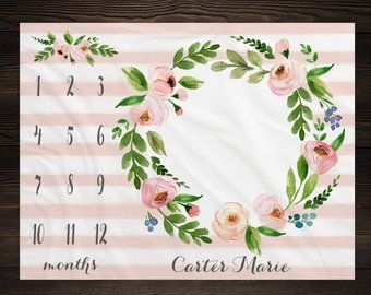 Girl Milestone Blanket Month Growth Tracker Minky Fleece Blanket Custom Personalized Baby Shower Gift Watercolor Floral Newborn
