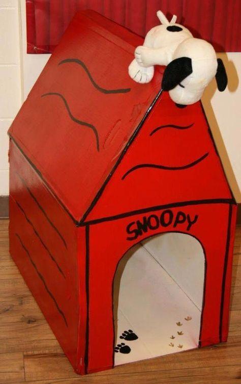 Dog House Cardboard Diy Doghousecardboarddiy Snoopy Dog House
