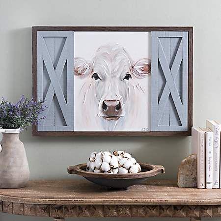 White Cow With Barn Doors Framed Art Print Kirklands Cow Decor Cow Wall Decor Cow Kitchen Decor