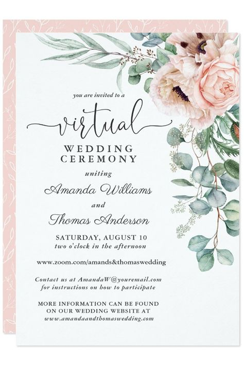 Invite your friends and famiy to live stream your wedding with this virtual wedding invitation. Perfect for weddings occuring while the coronavirus pandemic is an issue. #coronaviruswedding #virtualwedding #livestreamyourwedding #watercolorfloral #popularweddinginvites #Zazzle