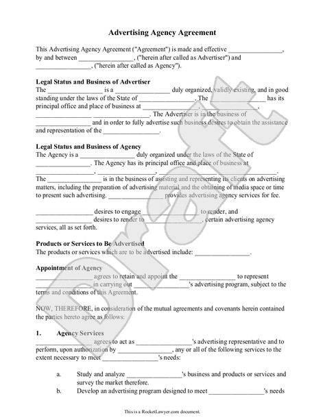 Free Printable Ad Or Media Agency Agreement Legal Forms Free - sample talent release form