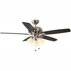 Hampton Bay Rockport 52 In Led Brushed Nickel Ceiling Fan With Light Kit 91850 The Home Depot In 2020 Ceiling Fan With Light Brushed Nickel Ceiling Fan Ceiling Fan