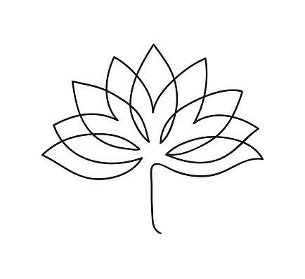 Lotus Icon Logo Outline Illustration Of Lotus Flower Black And Lotus Flower Logo Lotus Flower Outline Flower Outline