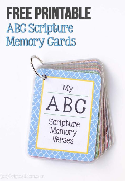 ABC Scripture Memory Cards Free printable ABC scripture memory cards - plus a free cut file to use with a laminator to make your own!Free printable ABC scripture memory cards - plus a free cut file to use with a laminator to make your own! Memory Verses For Kids, Bible Verses For Kids, Bible Study For Kids, Verses For Cards, Bible Lessons For Kids, Kids Bible, Preschool Bible Verses, Bible Activities, Bible Crafts