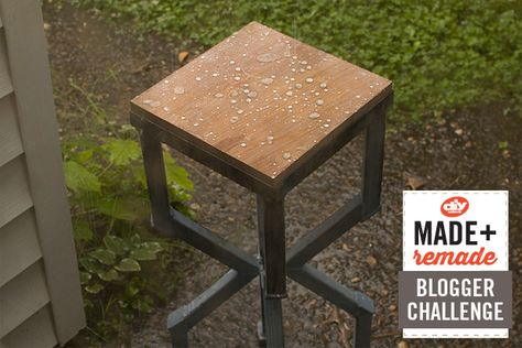 Make this water-repellent outdoor table from steel and wood >> http://blog.diynetwork.com/maderemade/how-to/build-a-water-repellent-outdoor-table?soc=pinterest