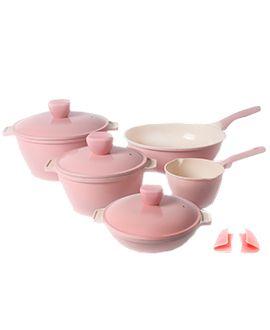 طقم قدور كووك ميلانو وردي باسم وطابع إيطالي جذاب وجودة وتصنيع كوري أصلي قدور طبخ وصفات عنايه اهتمام مطبخ Pots Kitchen P Bowl Tableware Mixing Bowl