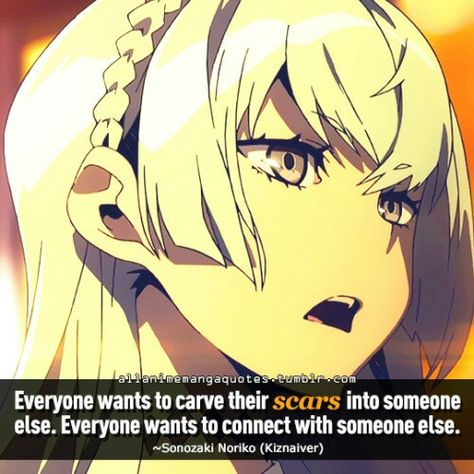 Everyone wants to carve their scars into someone else. Everyone wants to connect with someone else. Kiznaiver