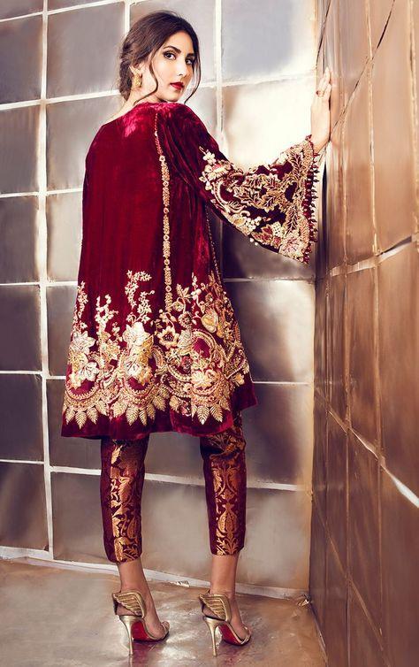 Maroon Velvet Suit with Pakistani Pant – Panache Haute Couture