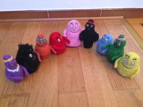 La famiglia Barbapapà in lana cardata . di CreazioniMonica su Etsy