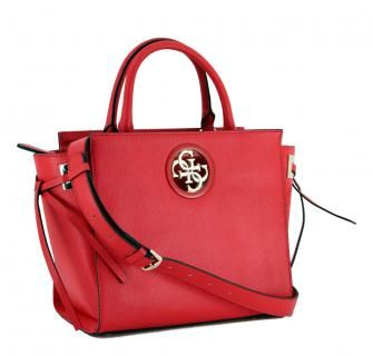 Kurzgrifftasche Guess Open Road Society Satchel rot 4G Logo