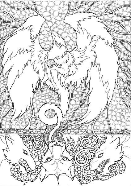 Adult Coloring Page Fantasy Beast Dragon Doodle Printable