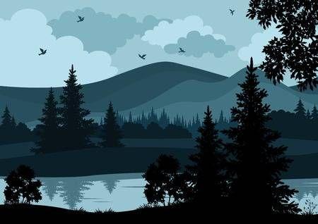 Stock Vector Night Landscape Landscape Illustration Chinese Landscape