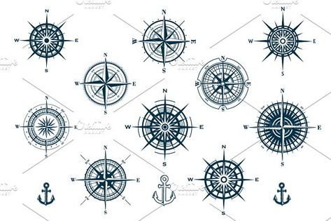Vector Set of Compass Roses by MSA-Graphics on @creativemarket