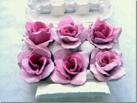 egg carton craft : egg carton roses diy