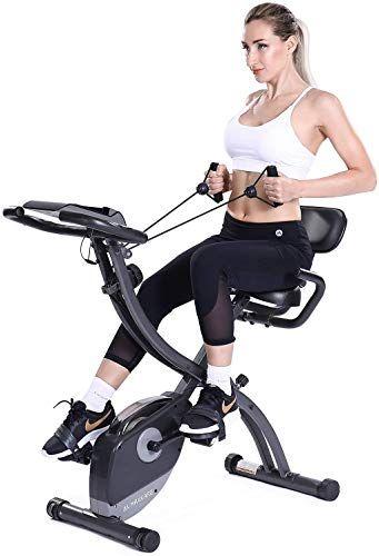 New Maxkare 3 In1 Folding Magnetic Upright Exercise Bike W Pulse