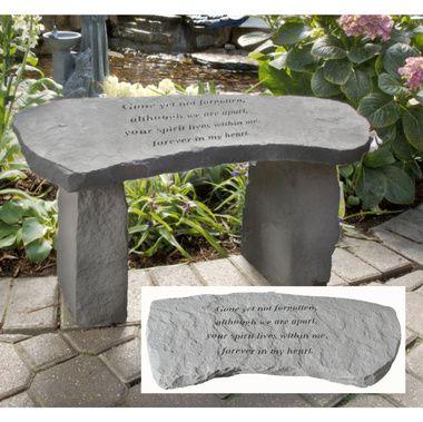 Gone Yet Not Forgotten Cast Stone Memorial Garden Bench In 2020