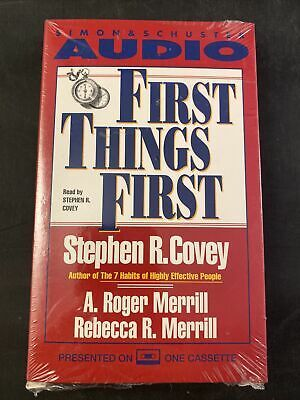 First Things First Stephen R Covey Cassette Audiobook Book Sealed 1994 90 Min Audio Books Stephen R Covey Books