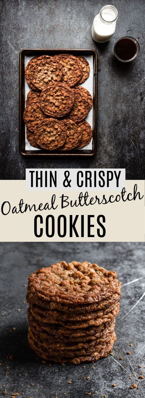 These Oatmeal Butterscotch Cookies are a whole new oatmeal cookie experience! Instead of a chewy cookie loaded with raisins, these cookies are thin, crispy, and exploding with butterscotch flavor.|#oatmealcookies #oatmealcookierecipe #butterscotchcookies #butterscotchcookiesrecipe #homenadecookies #homemadeoatmealcookies #cookiesrecipe #sweetandsaltyrecipe #crispycookies #thincookies |