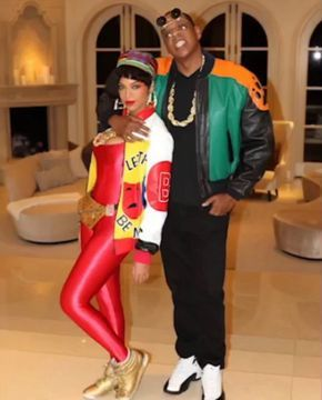 Jay and Bey showed off their Halloween costumes this year, Bey and Blue are Salt-N-Pepa, and Jay is Duane Wayne from A Different World. We love their family.