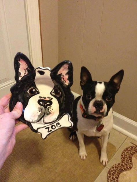 Custom Boston Terrier portrait Dog Bowl personalized by artzfolk, $48.00