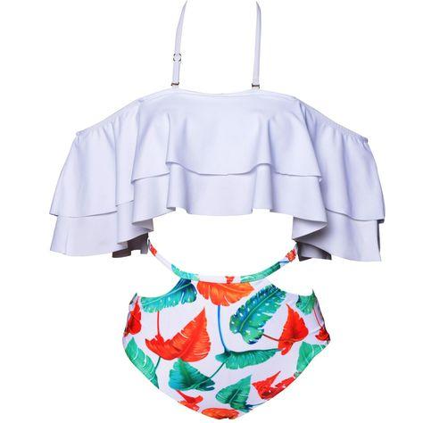 b948e65f67 Maternity Styles - designer maternity swimsuits : Univivid Womens Two Piece  Swimsuit Vintage Off Shoulder Ruffled Flounce Falbala Padded Bikini Top  With ...