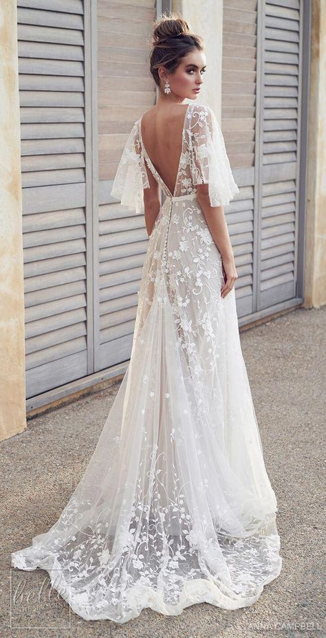 anna campbell 2019 bridal half handkerchief sleeves v neck full embellishment romantic pretty soft a line wedding dress blackess open back sweep train bv Anna Campbell 2019 Wedding Dresses Wedding Inspirasi Wedding Dress Train, Applique Wedding Dress, Best Wedding Dresses, Gown Wedding, Hippie Wedding Dresses, Tulle Wedding, Boho Beach Wedding Dress, Wedding Makeup, Backless Wedding