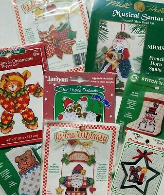8 Small Christmas Counted Cross Stitch Kits Lot Ornaments Etc Cross Stitch Christmas Ornaments Cross Stitch Kits Counted Cross Stitch