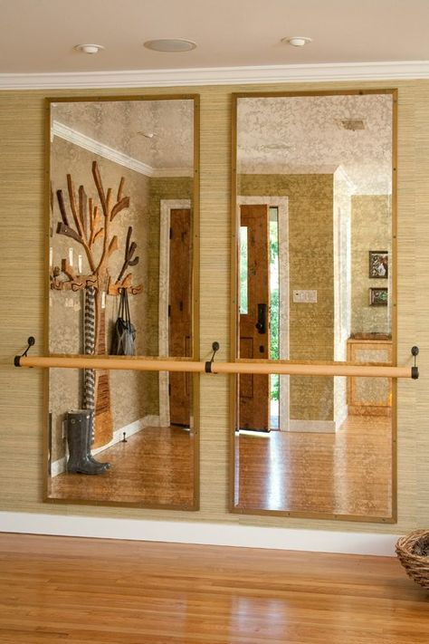 Creating Dance Space In Your Home Need a Barre at my house! Dream home gym decor: mirror wall for bodyweight exercises, and dancing. Ballet Room, Ballet Barre, Home Gym Design, House Design, Door Design, Wall Design, Home Dance Studio, Dance Studio Design, Dance Rooms