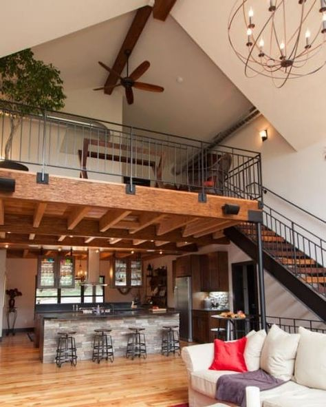 Loft com estilo industrial e bancada de revestimento de pedra (foto: Pinterest) #loftindustrial #loftindustrialpequeno #loftindustrialvintage