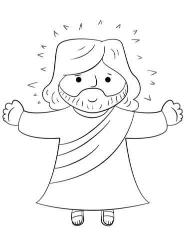 Cartoon Jesus Coloring Page From Jesus Resurrection Category