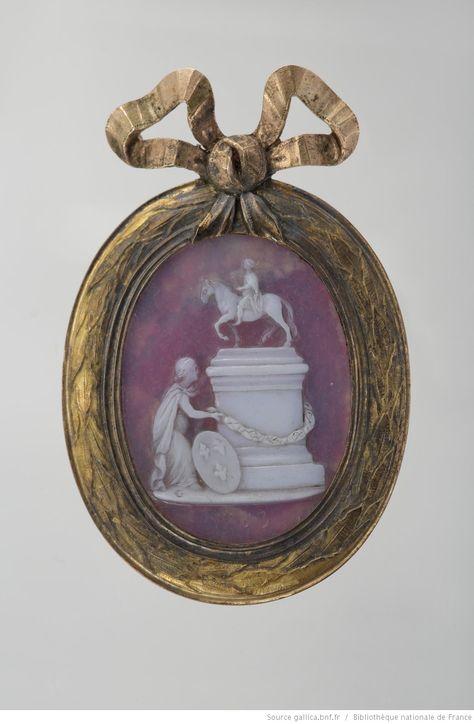 1763 [La France au pied de la statue équestre de Louis XV : camée] by Jacques…