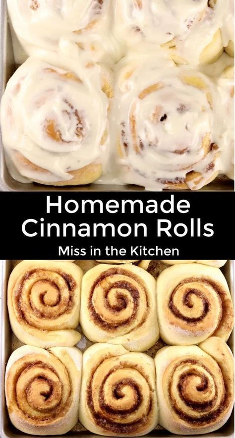 Homemade Cinnamon Rolls are incredibly soft with a gooey cinnamon filling and cream cheese icing. Our family favorite recipe that is a must have for weekend mornings and holiday gatherings. Cinnamon Roll Icing, Cinnabon Cinnamon Rolls, Best Cinnamon Rolls, Cinnamon Recipes, Donut Recipes, Baking Recipes, Dessert Recipes, Best Cinnamon Roll Recipe, Cinnamon Bun Filling Recipe