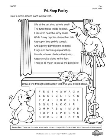 This Language Arts Worksheet Pairs Poetry And Action Verbs A