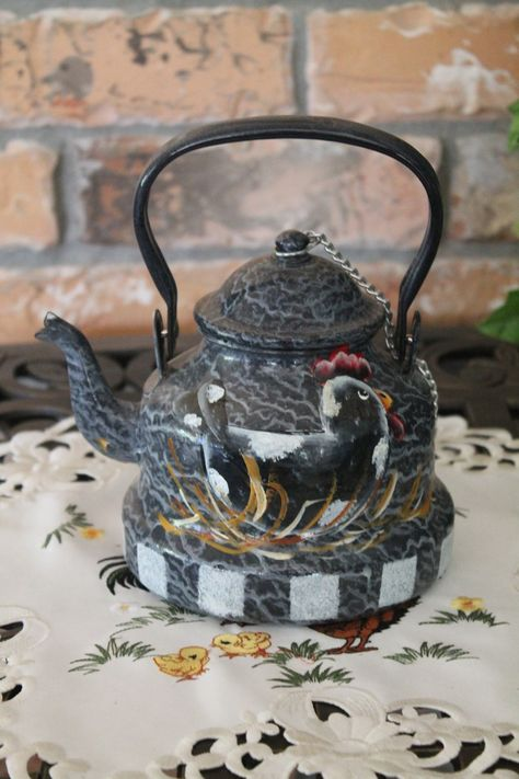 Tea Kettle with Nesting Hens..Holland..New...Porcelein..Handpainted..Decorative Use Only. $24.95, via Etsy.